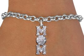 """<BR> WHOLESALE VOLLEYBALL CHARM BRACELET <bR>                EXCLUSIVELY OURS!! <Br>           AN ALLAN ROBIN DESIGN!! <BR>  CLICK HERE TO SEE 1000+ EXCITING <BR>        CHANGES THAT YOU CAN MAKE! <BR>     LEAD, NICKEL & CADMIUM FREE!! <BR> W1472SB - SILVER TONE VOLLEYBALL """"MOM"""" <BR>    CLEAR CRYSTAL CHARM & BRACELET <BR>         FROM $5.40 TO $9.85 �2013"""