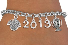 "<br>    WHOLESALE VOLLEYBALL CHARM JEWELRY! <Br>                      EXCLUSIVELY OURS!! <Br>                 AN ALLAN ROBIN DESIGN!! <Br>                    LEAD & NICKEL FREE!! <BR>             THIS IS A PERSONALIZED ITEM <Br>     W20467B - SILVER TONE LOBSTER CLASP <BR> ""VOLLEYBALL"", #1 TROPHY AND CUSTOM YEAR <BR>     BRACELET FROM $9.00 TO $20.00 �2013"