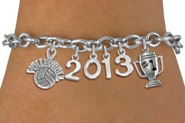 """<br>    WHOLESALE VOLLEYBALL CHARM JEWELRY! <Br>                      EXCLUSIVELY OURS!! <Br>                 AN ALLAN ROBIN DESIGN!! <Br>                    LEAD & NICKEL FREE!! <BR>             THIS IS A PERSONALIZED ITEM <Br>     W20468B - SILVER TONE TOGGLE CLASP <BR> """"VOLLEYBALL"""", #1 TROPHY AND CUSTOM YEAR <BR>     BRACELET FROM $9.00 TO $20.00 �2013"""