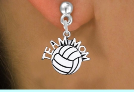 """<br>      WHOLESALE VOLLEYBALL EARRINGS <bR>                  EXCLUSIVELY OURS!! <BR>             AN ALLAN ROBIN DESIGN!! <BR>       CADMIUM, LEAD & NICKEL FREE!! <BR>      W1486SE - DETAILED SILVER TONE <Br> """"TEAM MOM"""" VOLLEYBALL CHARM EARRINGS <BR>           FROM $3.65 TO $8.40 �2013"""