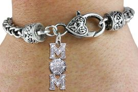 """<bR> WHOLESALE VOLLEYBALL HEART BRACELET <BR>                     EXCLUSIVELY OURS!! <BR>                AN ALLAN ROBIN DESIGN!! <BR>           LEAD, CADMIUM, & NICKEL FREE!! <BR> W1472SB - SILVER TONE VOLLEYBALL """"MOM""""<BR>                CLEAR CRYSTAL CHARM ON <BR>          HEART LOBSTER CLASP BRACELET <Br>            FROM $5.63 TO $12.50 �2013"""