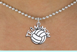 """<br>        WHOLESALE VOLLEYBALL JEWELRY <bR>                    EXCLUSIVELY OURS!! <BR>               AN ALLAN ROBIN DESIGN!! <BR>      CLICK HERE TO SEE 1000+ EXCITING <BR>            CHANGES THAT YOU CAN MAKE! <BR>         CADMIUM, LEAD & NICKEL FREE!! <BR>        W1486SN - DETAILED SILVER TONE <BR> """"TEAM MOM"""" VOLLEYBALL CHARM & NECKLACE <BR>              FROM $4.85 TO $8.30 �2013"""