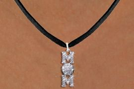 """<BR>         WHOLESALE VOLLEYBALL JEWELRY! <bR>                   EXCLUSIVELY OURS!! <Br>              AN ALLAN ROBIN DESIGN!! <BR>     CLICK HERE TO SEE 1000+ EXCITING <BR>           CHANGES THAT YOU CAN MAKE! <BR>        LEAD, NICKEL & CADMIUM FREE!! <BR>W1472SN - SILVER TONE VOLLEYBALL """"MOM"""" <BR>      CLEAR CRYSTAL CHARM AND NECKLACE <BR>            FROM $5.40 TO $9.85 �2013"""