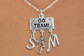 """<BR>      WHOLESALE VOLLEYBALL JEWELRY<Br>                EXCLUSIVELY OURS!! <Br>           AN ALLAN ROBIN DESIGN!! <Br>              LEAD & NICKEL FREE!! <BR>     THIS IS A PERSONALIZED ITEM!! <BR>  W20219N - SILVER TONE """"GO TEAM!"""" <BR>  LADY'S VOLLEYBALL THEMED PENDANT <BR> WITH BUMP AND PERSONALIZED INITIAL <BR>  CHARMS ON LOBSTER CLASP NECKLACE <BR>        FROM $7.85 TO $17.50 �2013"""