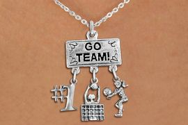 """<BR>      WHOLESALE VOLLEYBALL JEWELRY<Br>               EXCLUSIVELY OURS!! <Br>          AN ALLAN ROBIN DESIGN!! <Br>             LEAD & NICKEL FREE!! <BR> W20206N - SILVER TONE """"GO TEAM!"""" <BR> LADY'S VOLLEYBALL THEMED PENDANT <BR> WITH """"#1"""", BLOCKED NET, AND BUMP <BR> CHARMS ON LOBSTER CLASP NECKLACE <BR>       FROM $7.85 TO $17.50 �2013"""