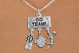 """<BR>      WHOLESALE VOLLEYBALL JEWELRY<Br>               EXCLUSIVELY OURS!! <Br>          AN ALLAN ROBIN DESIGN!! <Br>             LEAD & NICKEL FREE!! <BR> W20207N - SILVER TONE """"GO TEAM!"""" <BR> LADY'S VOLLEYBALL THEMED PENDANT <BR> WITH 1st MEDAL, """"VOLLEYBALL"""" AND SERVE <BR> CHARMS ON LOBSTER CLASP NECKLACE <BR>       FROM $7.85 TO $17.50 �2013"""