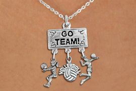 """<BR>      WHOLESALE VOLLEYBALL JEWELRY<Br>               EXCLUSIVELY OURS!! <Br>          AN ALLAN ROBIN DESIGN!! <Br>             LEAD & NICKEL FREE!! <BR> W20208N - SILVER TONE """"GO TEAM!"""" <BR> LADY'S VOLLEYBALL THEMED PENDANT <BR> WITH BUMP, """"VOLLEYBALL"""" AND SERVE <BR> CHARMS ON LOBSTER CLASP NECKLACE <BR>       FROM $7.85 TO $17.50 �2013"""
