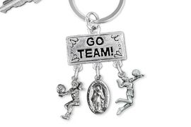 "<BR>      WHOLESALE VOLLEYBALL JEWELRY<Br>                 EXCLUSIVELY OURS!! <Br>            AN ALLAN ROBIN DESIGN!! <Br>               LEAD & NICKEL FREE!! <BR>  W20226KC - SILVER TONE ""GO TEAM!"" <BR>    VOLLEYBALL THEMED KEY RING WITH <BR> BUMP, MOTHER MARY AND SERVE CHARMS <BR>         FROM $6.41 TO $14.25 �2013"