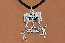 """<BR>      WHOLESALE VOLLEYBALL JEWELRY<Br>                 EXCLUSIVELY OURS!! <Br>            AN ALLAN ROBIN DESIGN!! <Br>               LEAD & NICKEL FREE!! <BR>   W20229N - SILVER TONE """"GO TEAM!"""" <BR>   LADY'S VOLLEYBALL THEMED PENDANT <BR> WITH HIGH SERVE, """"VOLLEYBALL MOM"""", AND <BR> SERVE CHARMS ON BLACK SUEDE NECKLACE <BR>         FROM $7.85 TO $17.50 �2013"""