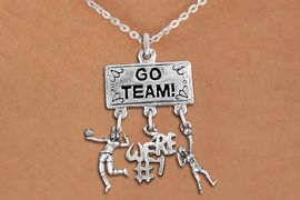 """<BR>      WHOLESALE VOLLEYBALL JEWELRY<Br>                 EXCLUSIVELY OURS!! <Br>            AN ALLAN ROBIN DESIGN!! <Br>               LEAD & NICKEL FREE!! <BR>   W20232N - SILVER TONE """"GO TEAM!"""" <BR>   LADY'S VOLLEYBALL THEMED PENDANT <BR> WITH HIGH SERVE, """"WE'RE #1"""", AND SERVE <BR>      CHARMS ON CHAIN LINK NECKLACE <BR>         FROM $7.85 TO $17.50 �2013"""