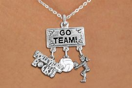 """<BR>      WHOLESALE VOLLEYBALL JEWELRY<Br>                 EXCLUSIVELY OURS!! <Br>            AN ALLAN ROBIN DESIGN!! <Br>               LEAD & NICKEL FREE!! <BR>   W20251N - SILVER TONE """"GO TEAM!"""" <BR>   LADY'S VOLLEYBALL THEMED PENDANT <BR> BUMP, BALL, AND """"VOLLEYBALL ROCKS!""""<BR>   CHARMS ON LOBSTER CLASP NECKLACE <BR>         FROM $7.85 TO $17.50 �2013"""