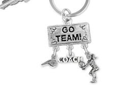 "<BR>      WHOLESALE VOLLEYBALL KEY RING<Br>                EXCLUSIVELY OURS!! <Br>           AN ALLAN ROBIN DESIGN!! <Br>              LEAD & NICKEL FREE!! <BR> W20202KC - SILVER TONE ""GO TEAM!"" <BR>   VOLLEYBALL THEMED KEY RING WITH <BR>    WHISTLE, ""COACH"" & BUMP CHARMS <BR>        FROM $6.41 TO $14.25 �2013"