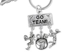 "<BR>      WHOLESALE VOLLEYBALL KEYCHAIN<Br>                EXCLUSIVELY OURS!! <Br>           AN ALLAN ROBIN DESIGN!! <Br>              LEAD & NICKEL FREE!! <BR> W20203KC - SILVER TONE ""GO TEAM!"" <BR>   VOLLEYBALL THEMED KEY RING WITH <BR>  BUMP, ""LOVE"" BALL & SERVE CHARMS <BR>        FROM $6.41 TO $14.25 �2013"