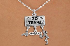 """<BR>      WHOLESALE VOLLEYBALL NECKLACE<Br>               EXCLUSIVELY OURS!! <Br>          AN ALLAN ROBIN DESIGN!! <Br>             LEAD & NICKEL FREE!! <BR> W20209N - SILVER TONE """"GO TEAM!"""" <BR> LADY'S VOLLEYBALL THEMED PENDANT <BR>   WITH WHISTLE, """"COACH"""" AND BUMP <BR> CHARMS ON LOBSTER CLASP NECKLACE <BR>       FROM $7.85 TO $17.50 �2013"""