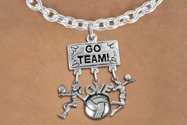 """<BR>      WHOLESALE VOLLEYBALL NECKLACE<Br>               EXCLUSIVELY OURS!! <Br>          AN ALLAN ROBIN DESIGN!! <Br>             LEAD & NICKEL FREE!! <BR> W20210N - SILVER TONE """"GO TEAM!"""" <BR> LADY'S VOLLEYBALL THEMED PENDANT <BR>   WITH BUMP, """"LOVE"""" BALL, AND SERVE <BR>  CHARMS ON TOGGLE CHAIN NECKLACE <BR>       FROM $9.00 TO $20.00 �2013"""