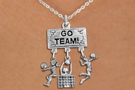 """<BR>      WHOLESALE VOLLEYBALL NECKLACE<Br>                EXCLUSIVELY OURS!! <Br>           AN ALLAN ROBIN DESIGN!! <Br>              LEAD & NICKEL FREE!! <BR>  W20218N - SILVER TONE """"GO TEAM!"""" <BR>  LADY'S VOLLEYBALL THEMED PENDANT <BR> BUMP, HIGH BLOCK AT NET, AND SERVE <BR>  CHARMS ON LOBSTER CLASP NECKLACE <BR>        FROM $7.85 TO $17.50 �2013"""