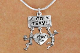 """<BR>      WHOLESALE VOLLEYBALL NECKLACE<Br>                EXCLUSIVELY OURS!! <Br>           AN ALLAN ROBIN DESIGN!! <Br>              LEAD & NICKEL FREE!! <BR>  W20220N - SILVER TONE """"GO TEAM!"""" <BR>  LADY'S VOLLEYBALL THEMED PENDANT <BR> WITH BUMP, """"PROUD MOM"""", AND SERVE <BR>     CHARMS ON SNAKE CHAIN NECKLACE <BR>        FROM $7.85 TO $17.50 �2013"""