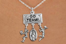 """<BR>      WHOLESALE VOLLEYBALL NECKLACE<Br>                 EXCLUSIVELY OURS!! <Br>            AN ALLAN ROBIN DESIGN!! <Br>               LEAD & NICKEL FREE!! <BR>   W20230N - SILVER TONE """"GO TEAM!"""" <BR>   LADY'S VOLLEYBALL THEMED PENDANT <BR>  WITH BUMP, MOTHER MARY, AND SERVE <BR>      CHARMS ON CHAIN LINK NECKLACE <BR>         FROM $7.85 TO $17.50 �2013"""
