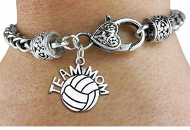 """<bR>    WHOLESALE VOLLEYBALL SPORT BRACELET <BR>                     EXCLUSIVELY OURS!! <BR>                AN ALLAN ROBIN DESIGN!! <BR>          CADMIUM, LEAD & NICKEL FREE!! <BR>        W1486SB - DETAILED SILVER TONE  <BR> """"TEAM MOM"""" VOLLEYBALL CHARM & HEART CLASP <BR>      BRACELET FROM $3.94 TO $8.75 �2013"""