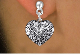<BR>  WHOLESALE WESTERN STYLE JEWELRY <bR>              EXCLUSIVELY OURS!! <Br>         AN ALLAN ROBIN DESIGN!! <BR>   LEAD, NICKEL & CADMIUM FREE!! <BR> W1435SE - SILVER TONE CLEAR CRYSTAL <BR> WESTERN STYLE HEART CHARM EARRINGS <BR>      FROM $5.40 TO $10.45 �2013