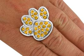 <BR>      WHOLESALE YELLOW PAW RING<Br>            LEAD & NICKEL FREE!! <Br> W20185R - SILVER TONE & GENIUNE <BR> AUSTRIAN FACETED YELLOW CRYSTAL <Br>    LARGE PAW PRINT STRETCH RING <BR>            FROM $5.63 TO $12.50