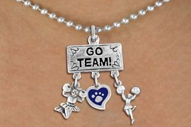 """<br> WHOLESALECHEERLEADER NECKLACE<Br>                EXCLUSIVELY OURS!! <Br>           AN ALLAN ROBIN DESIGN!! <Br>              LEAD & NICKEL FREE!! <BR>       THIS IS A PERSONALIZED ITEM <Br>  W20138N - SILVER TONE """"GO TEAM!"""" <BR>  CHEERLEADING THEMED PENDANT WITH <BR>     COLOR PAW HEART & CHEERLEADER <BR>     CHARMS ON BALL CHAIN NECKLACE <BR>          FROM $7.85 TO $17.50 �2013"""