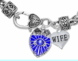 """<Br>                       WHOLESALE POLICE JEWELRY  <BR>                         AN ALLAN ROBIN DESIGN!! <Br>                   CADMIUM, LEAD & NICKEL FREE!!  <Br>          W1329-1876B1  """"I LOVE YOU WIFE"""" HEART  <BR>      CHARMS ON HEART LOBSTER CLASP BRACELET <BR>                         FROM $7.50 TO $9.50 �2016"""
