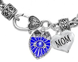 """<Br>              WHOLESALE POLICE CRYSTAL JEWELRY  <BR>                         AN ALLAN ROBIN DESIGN!! <Br>                   CADMIUM, LEAD & NICKEL FREE!!  <Br>         W1329-1837B1  """"I LOVE YOU MOM"""" HEART  <BR>      CHARMS ON HEART LOBSTER CLASP BRACELET <BR>                     FROM $7.50 TO $9.50 �2016"""