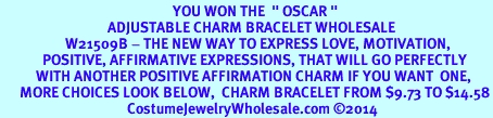"""<BR>                                                     YOU WON THE  """" OSCAR """" <BR>                                 ADJUSTABLE CHARM BRACELET WHOLESALE <bR>                    W21509B - THE NEW WAY TO EXPRESS LOVE, MOTIVATION,<BR>             POSITIVE, AFFIRMATIVE EXPRESSIONS, THAT WILL GO PERFECTLY<br>           WITH ANOTHER POSITIVE AFFIRMATION CHARM IF YOU WANT  ONE,<BR>      MORE CHOICES LOOK BELOW,  CHARM BRACELET FROM $9.73 TO $14.58<BR>                                       CostumeJewelryWholesale.com ©2014"""