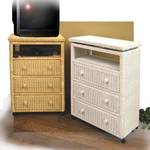 3 Drawer Wicker Dresser with TV Swivel-sold