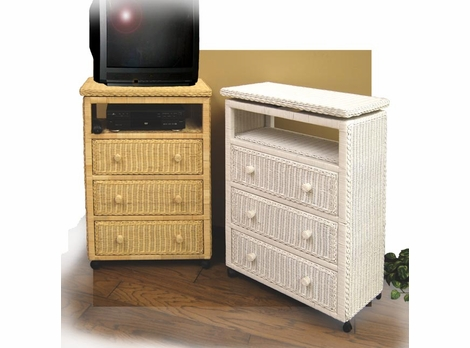 3 Drawer Wicker Dresser with TV Swivel