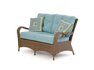 Alexandria Outdoor Wicker Loveseat - Oyster Finish