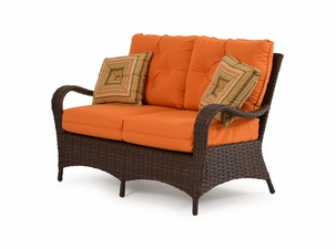 Alexandria Outdoor Wicker Loveseat - Tortoise Finish