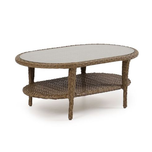 Alexandria Outdoor Wicker Oval Cocktail Table - Oyster Finish