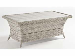 Antiqua Outdoor Wicker Coffee Table with Poly Top