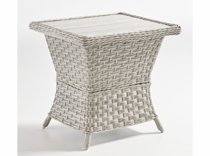 Antiqua Outdoor Wicker End Table with Poly Top