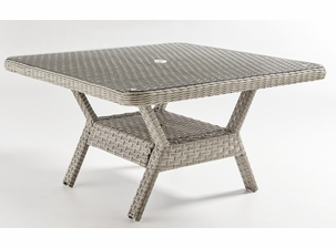 Antiqua Outdoor Wicker Sectional Chat Table with Glass Top