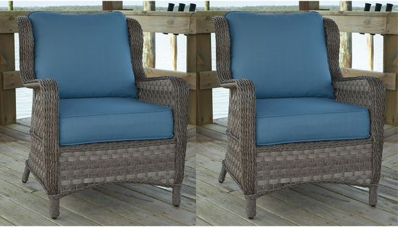 Ashlyn Outdoor Wicker Wing Chair - Set Of 2