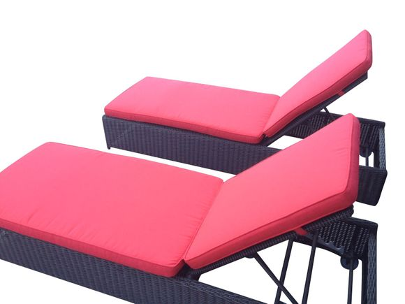 Black Outdoor Wicker Chaise Set of 2