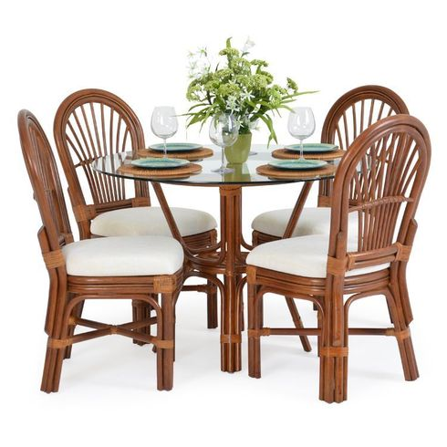 Bradenton Rattan Dining Set of 5 With Side chairs