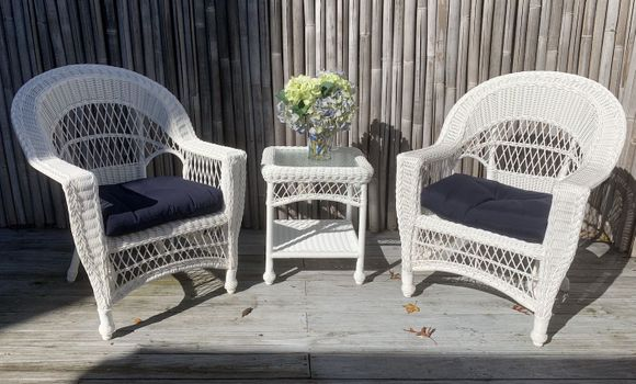 Cape Cod Outdoor Wicker - 2 Chairs and End Table