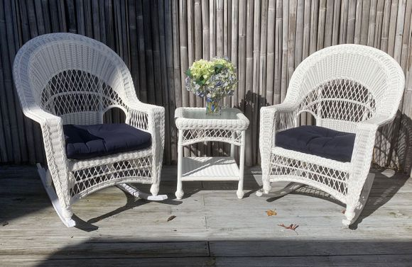 Cape Cod Outdoor Wicker - 2 Rockers and End Table
