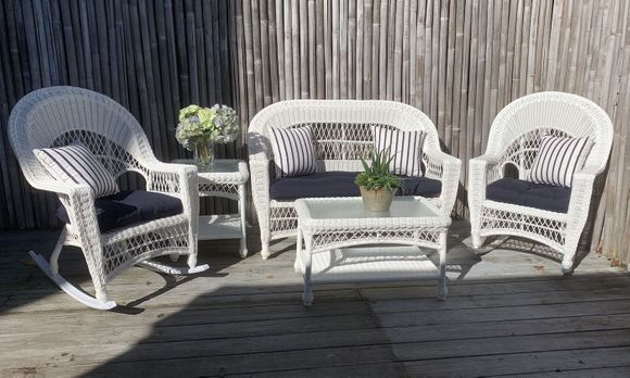 Cape Cod Outdoor Wicker - Loveseat, 2 Rockers, Coffee Table and End Table Set
