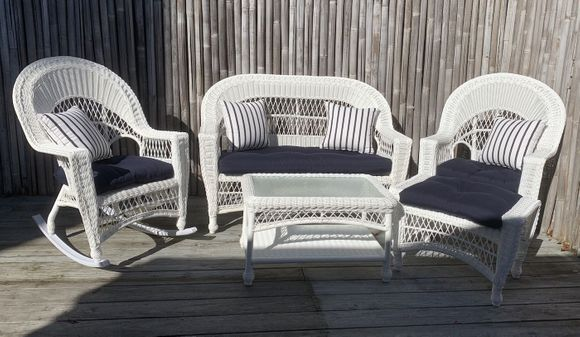 Cape Cod Outdoor Wicker - Loveseat, 2 Rockers, Coffee Table and Ottoman Set