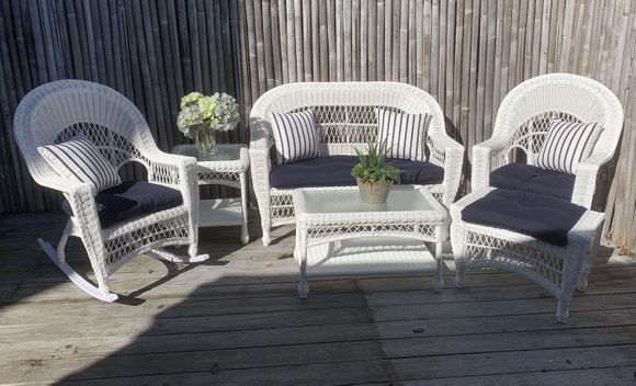 Cape Cod Outdoor Wicker - Loveseat, 2 Rockers, Ottoman, Coffee Table and End Table Set