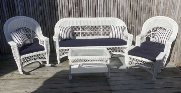 Cape Cod Outdoor Wicker - Sofa, 2 Rockers, Ottoman and Coffee Table Set