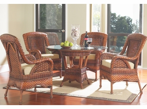 "Casablanca Wicker Dining Set of 5 with 45"" Square Glass Top"