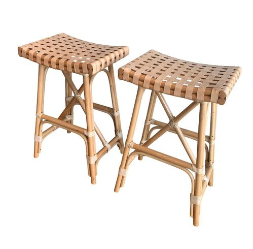 Cayman Rattan Saddle Barstool- Set of 2