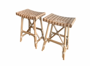 Cayman Rattan Saddle Counter Stool - Set of 2