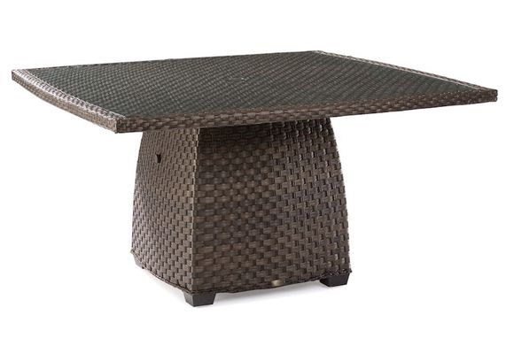 Lane Venture  Outdoor Wicker 60 Inch Dining Table-With Aluminum Top